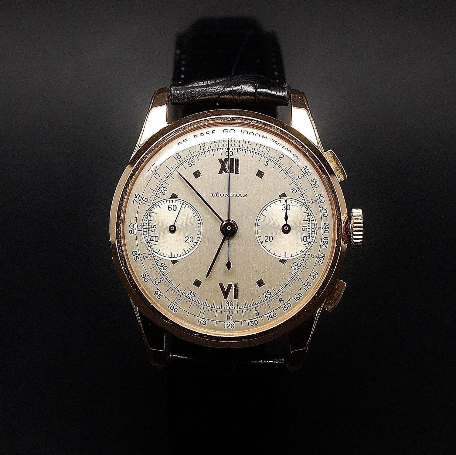 vendre 2200 montre leonidas vintage chronographe or. Black Bedroom Furniture Sets. Home Design Ideas