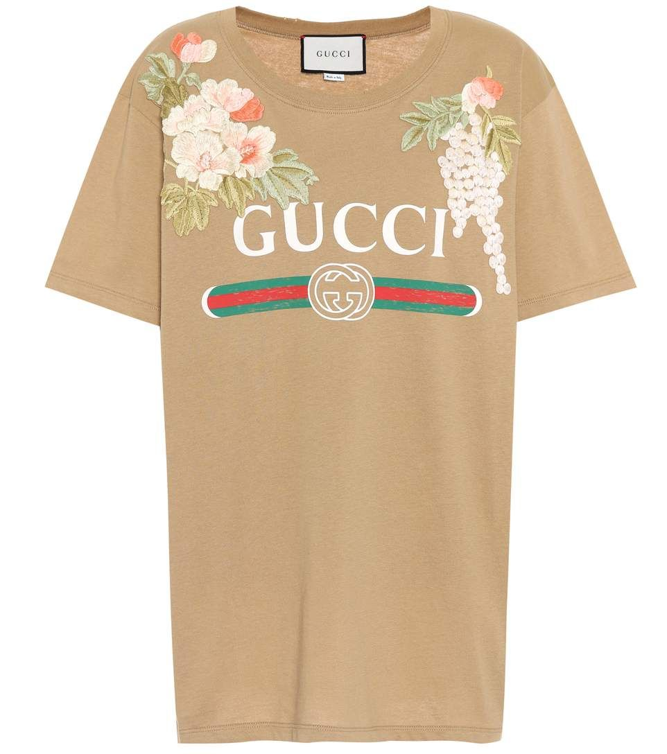 f682ee4c5e0 GUCCI Embroidered cotton T-shirt.  gucci  cloth