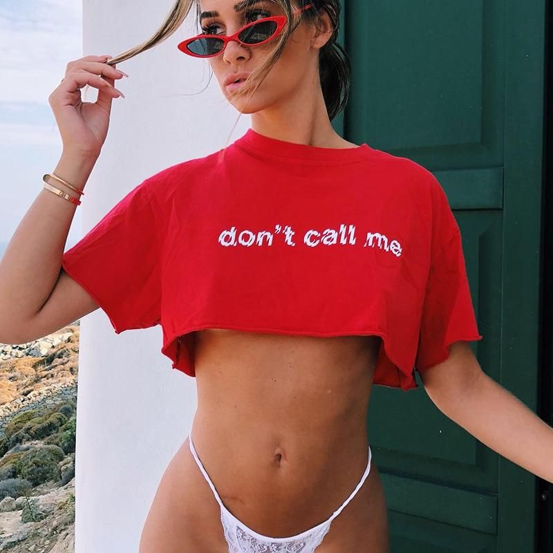 aa32857f Don't Call Me Print Casual Cropped T-shirt – Lupsona | Casual T ...