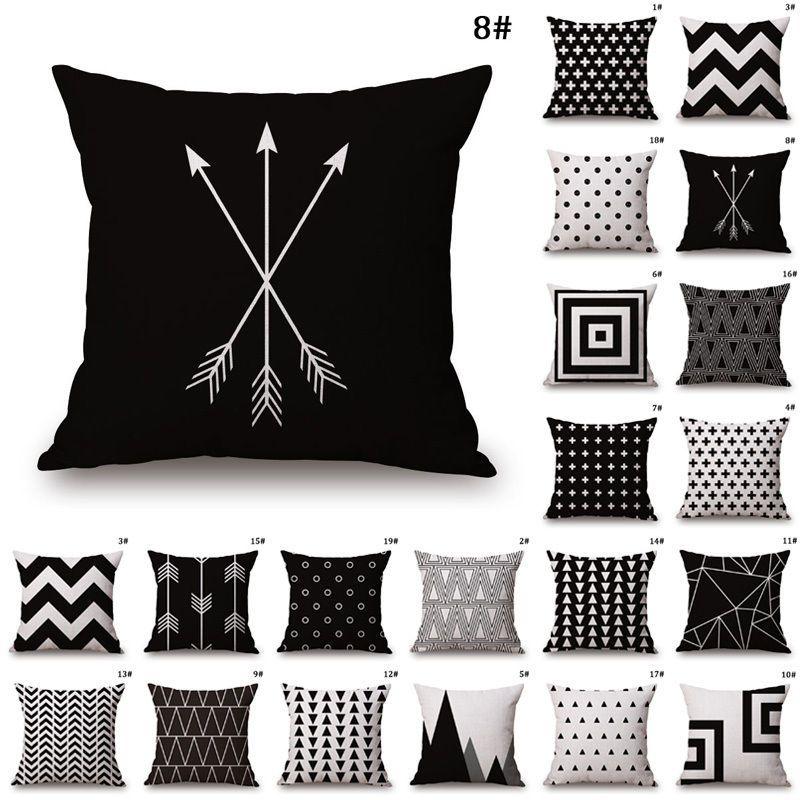 Black White Sofa Pillow Case Cotton Linen Fashion Throw ...