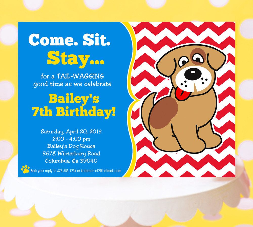 Popular Items For Dog Party Invitation On Etsy Projects To Try - Dog party invitations template