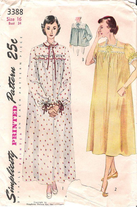Simplicity 3388 1950s Ruffled Nightgown and Bedjacket Vintage Sewing Pattern  Size 16 Bathrobe Sleepwear 5c286813b
