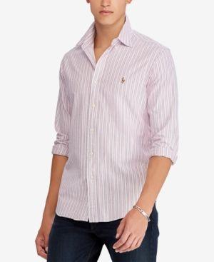 ad4eee6b16d Polo Ralph Lauren Men s Classic Fit Striped Sport Shirt - Red XXL
