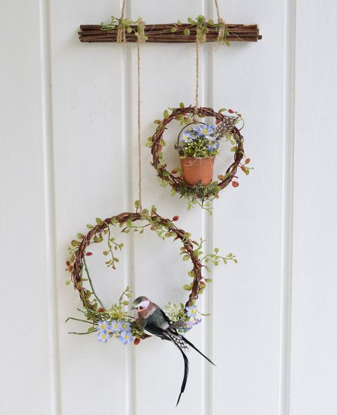 t rkranz fr hling spring wreath birds flowers by sotilala via basteln. Black Bedroom Furniture Sets. Home Design Ideas