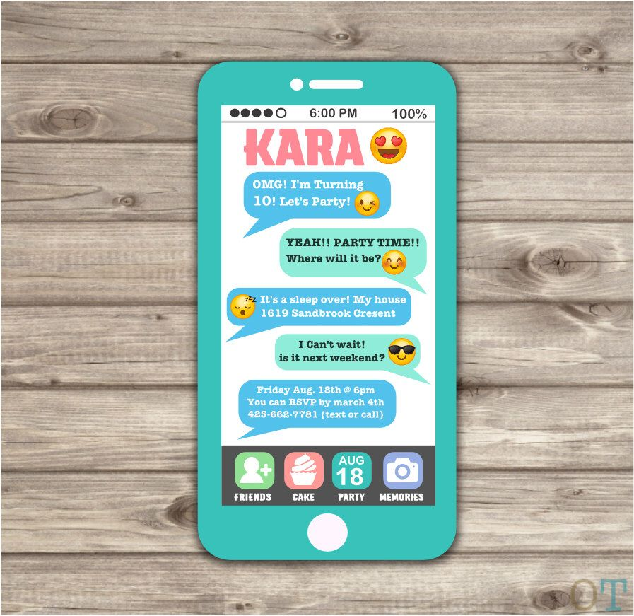 Cell Phone Emoji Sleep Over Teen Invitation tween 12th birthday 10th ...