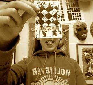 Fun trading cards activity, could usefor cross-hatching/stippling, etc.  Draw half of face in creative way, then take picture
