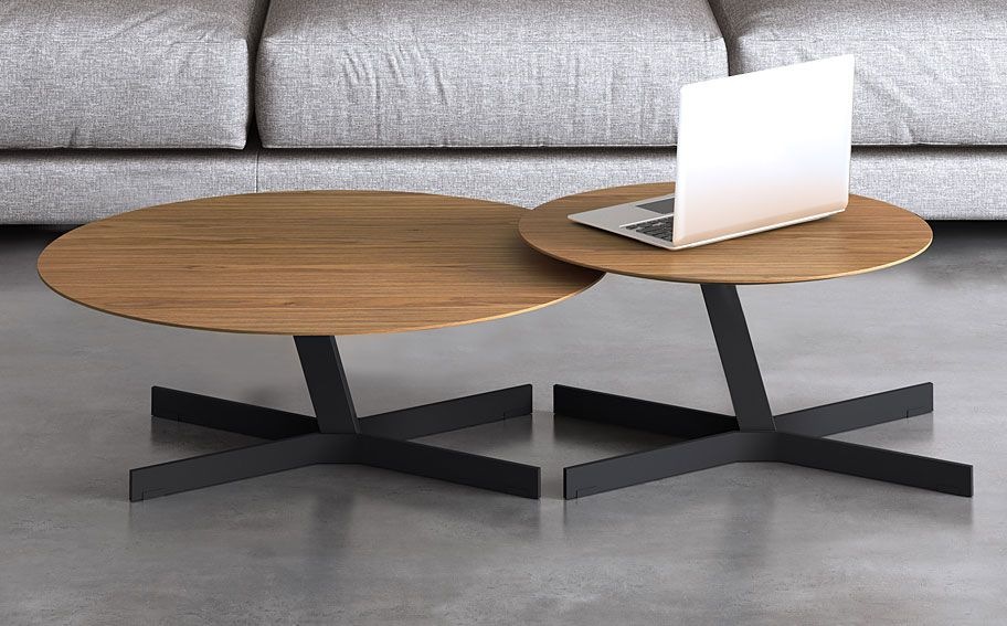 set mesas de centro modernas redondas hoxton material madera de roble mueble realizado en