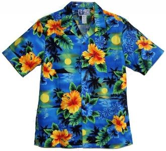06421443e RJC - Island Sunset Hawaiian Aloha Shirt -Turquiose. Coconut shell buttons  and matching print engineered chest pocket. MADE IN HAWAII 100% Cotton RJC  Brand ...