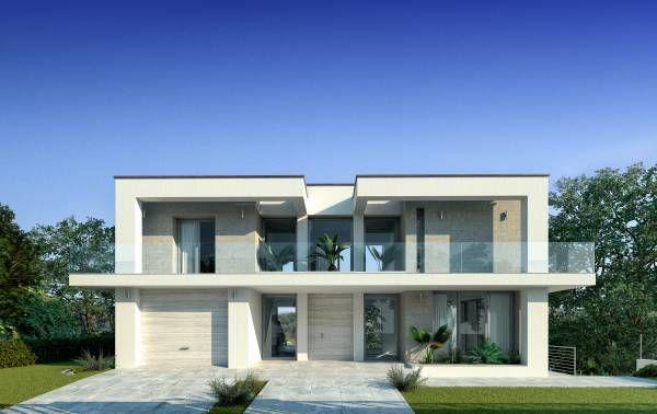 Villa moderna con piscina idee per la casa pinterest for Progetti ville bifamiliari moderne