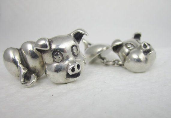 Vintage Cufflinks Sterling Silver Pig Cuff by LadyandLibrarian, $166.00