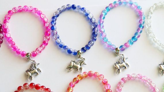 Unicorn Party Favors 10 Stretchy Bracelets Girl by boriville