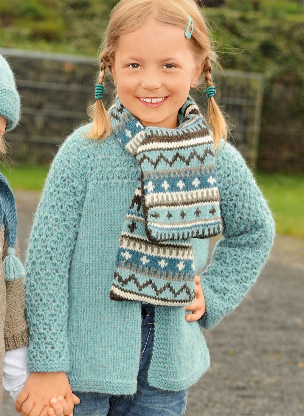 Детский свитер спицами Кошачьи мордочки. Описание и схема