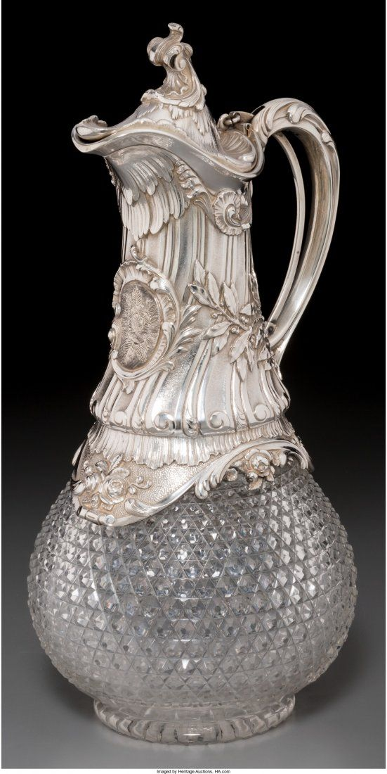 74040: A German Silver and Cut-Glass Claret Jug, late 1 : Lot 74040