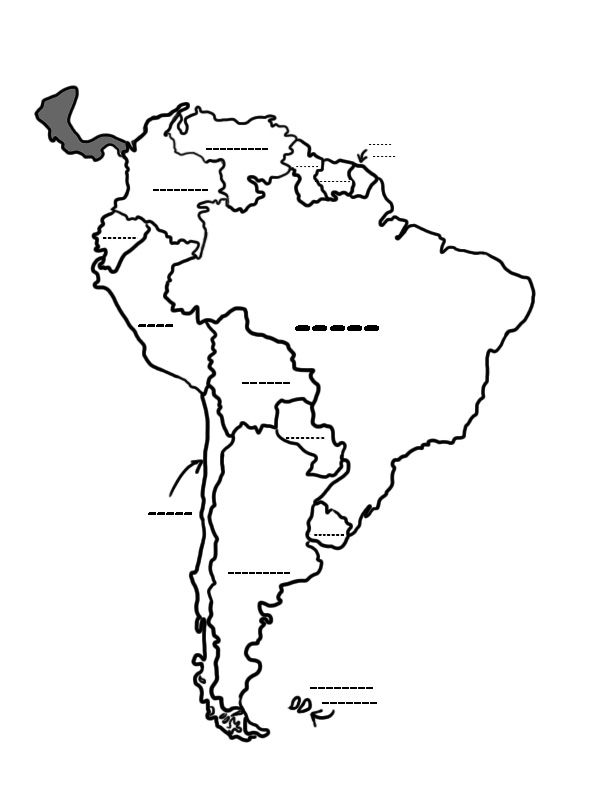 South America Map Black And White Culture Studies Pinterest: South America Map Drawing At Codeve.org