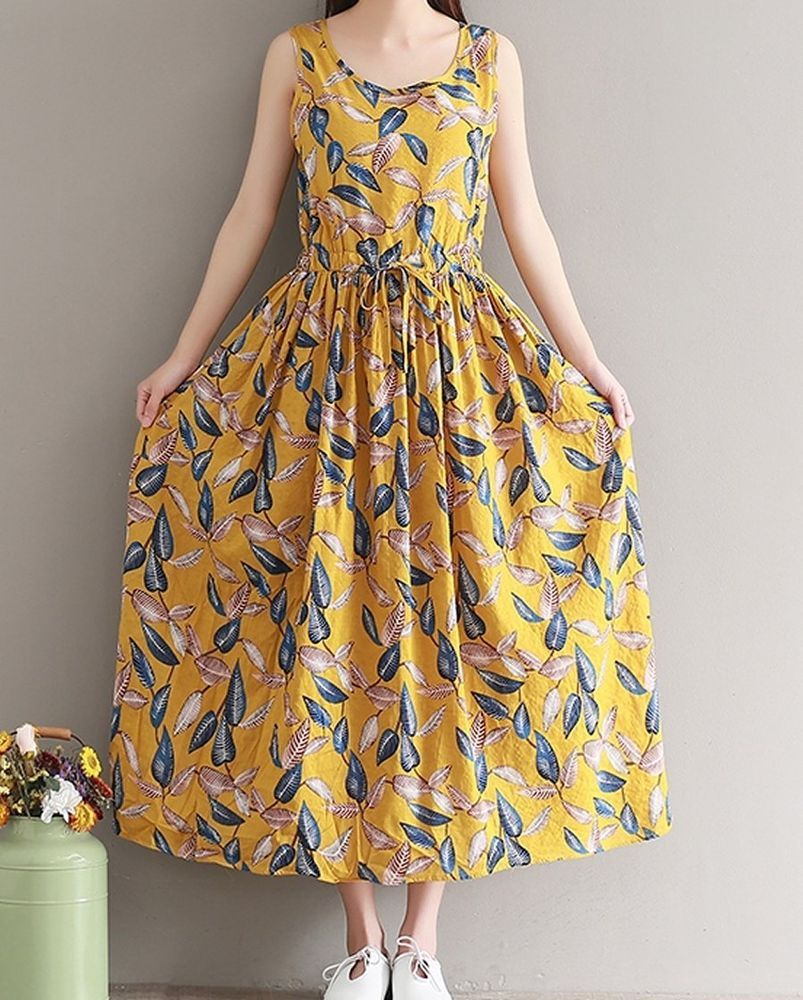 Women Loose Fitting Over Plus Size Retro Leaves Dress Linen Long Maxi Tunic Boho Summer Dresses Long Summer Dresses Maxi Womens Dresses [ 1000 x 803 Pixel ]