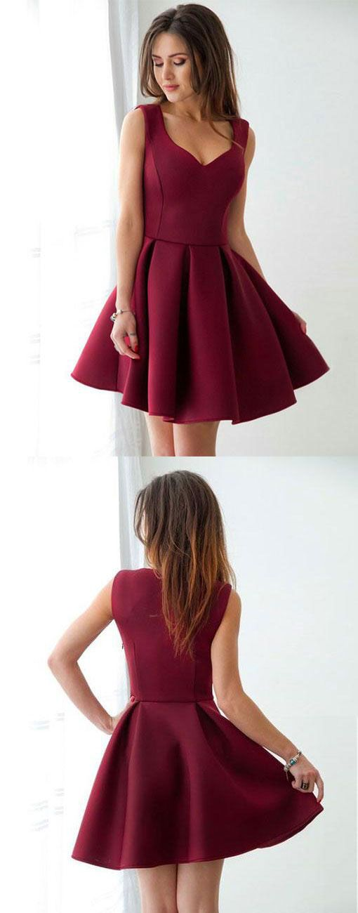 Cute burgundy short prom dress, simple v neck burgundy ...
