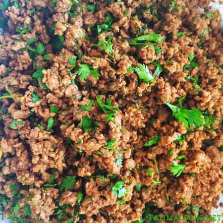 Minced Lamb Filling for Samosas, Spring Rolls, Sandwiches etc – recipe @ FatimaCooks.net