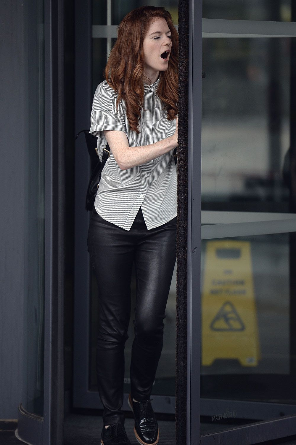 Rose Leslie wearing leather pants  leather skinny pants    Celebrity     Rose Leslie wearing leather pants  leather skinny pants