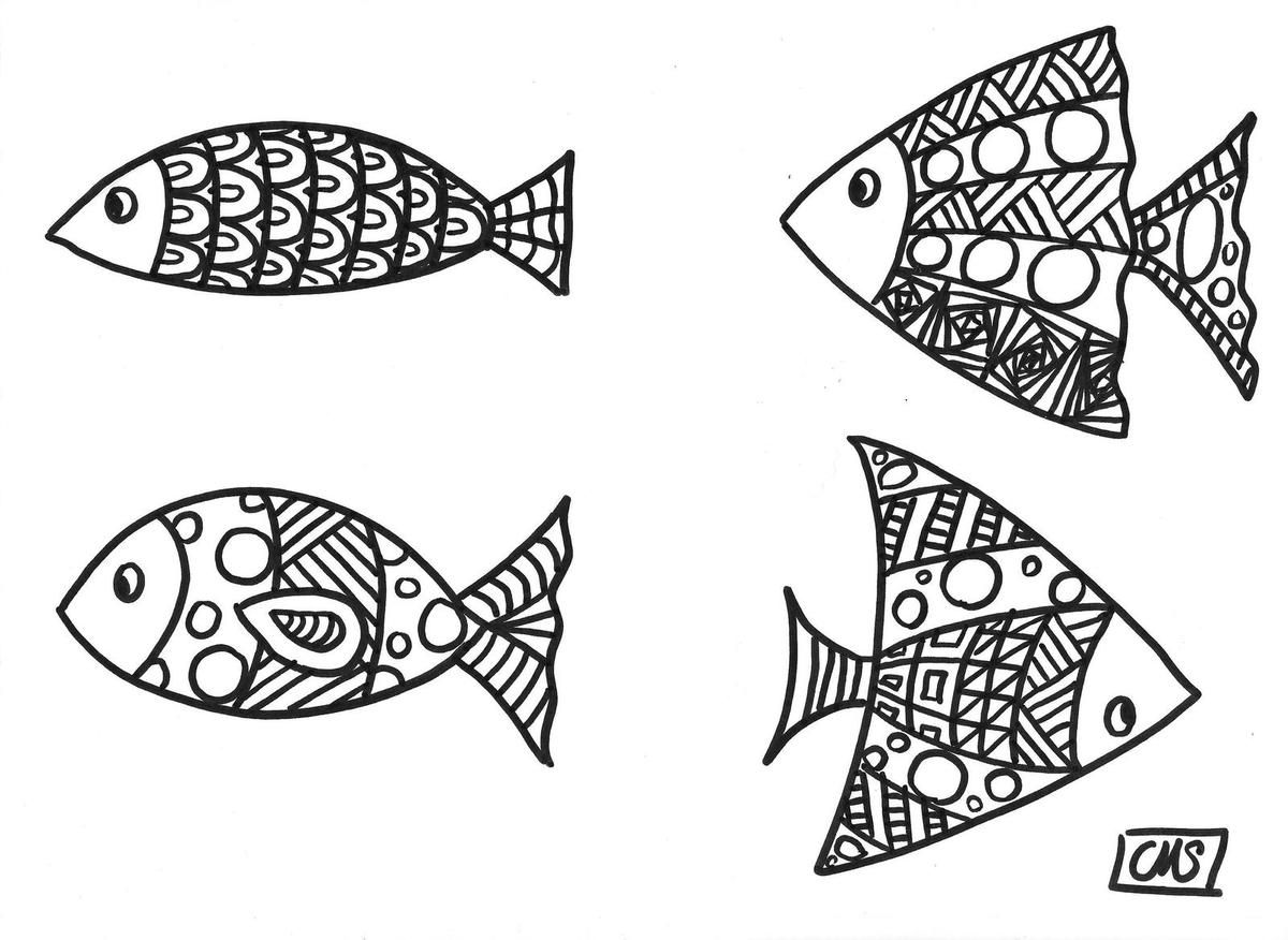 Coloriages les petits poissons coloriages doodle art coloring pages art - Colorier mandala ...