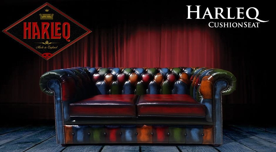 Patchwork Leather Chesterfield Harlequin Sofa Made In England Multicoloured Cushion Seat Club And Queen Anne Chairs