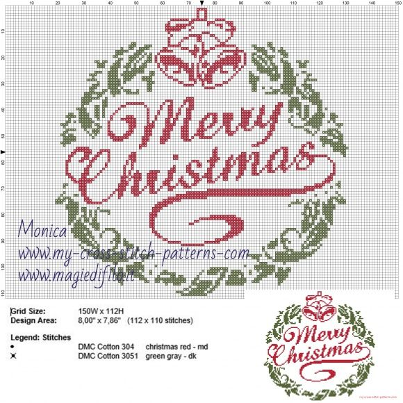 Merry Christmas patrón punto de cruz | Navidad | Pinterest | Punto ...