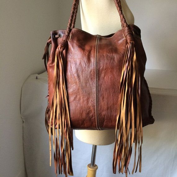 Bohemian Large Fringe Handbag In Oil Tan Leather Lacing Tote Bag Shoulder Gypsy