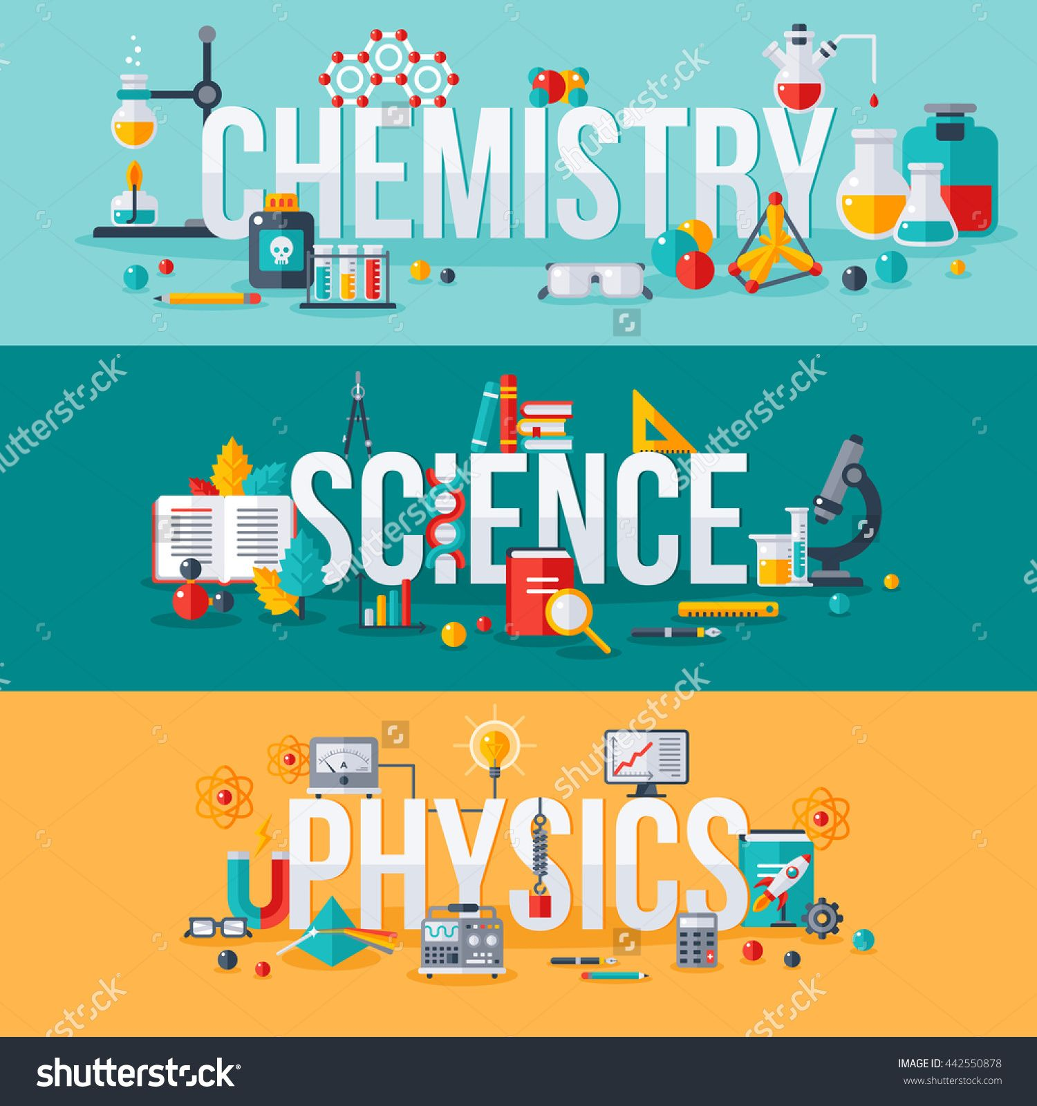 Chemistry, science, physics words with flat scientific icons. Vector ...