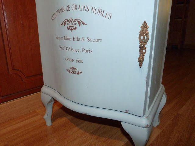 Mesilla restaurada con chalk paint estarcido y papel - Papel decorativo para muebles ...