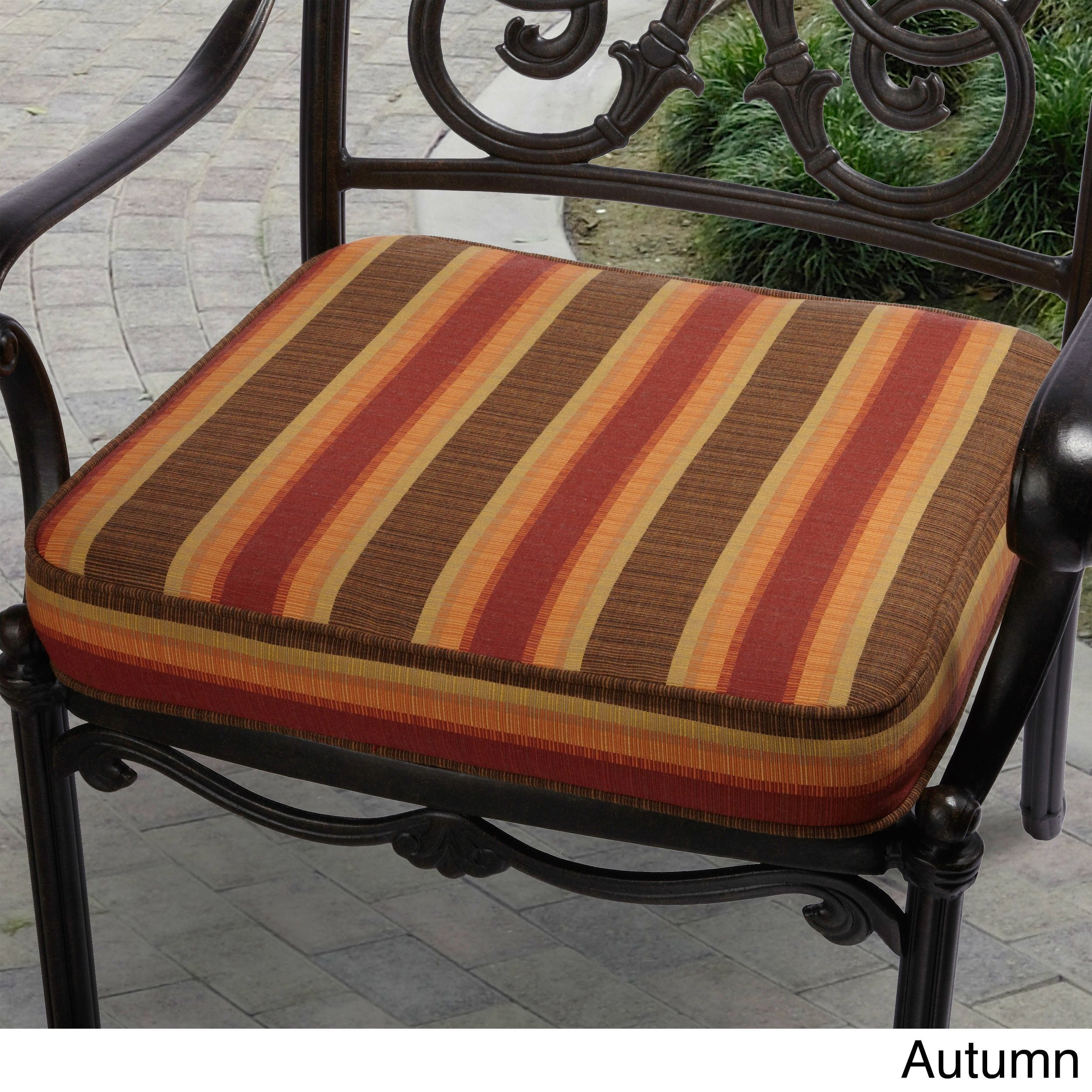 Indoor Outdoor 19 inch Striped Chair Cushion with Sunbrella