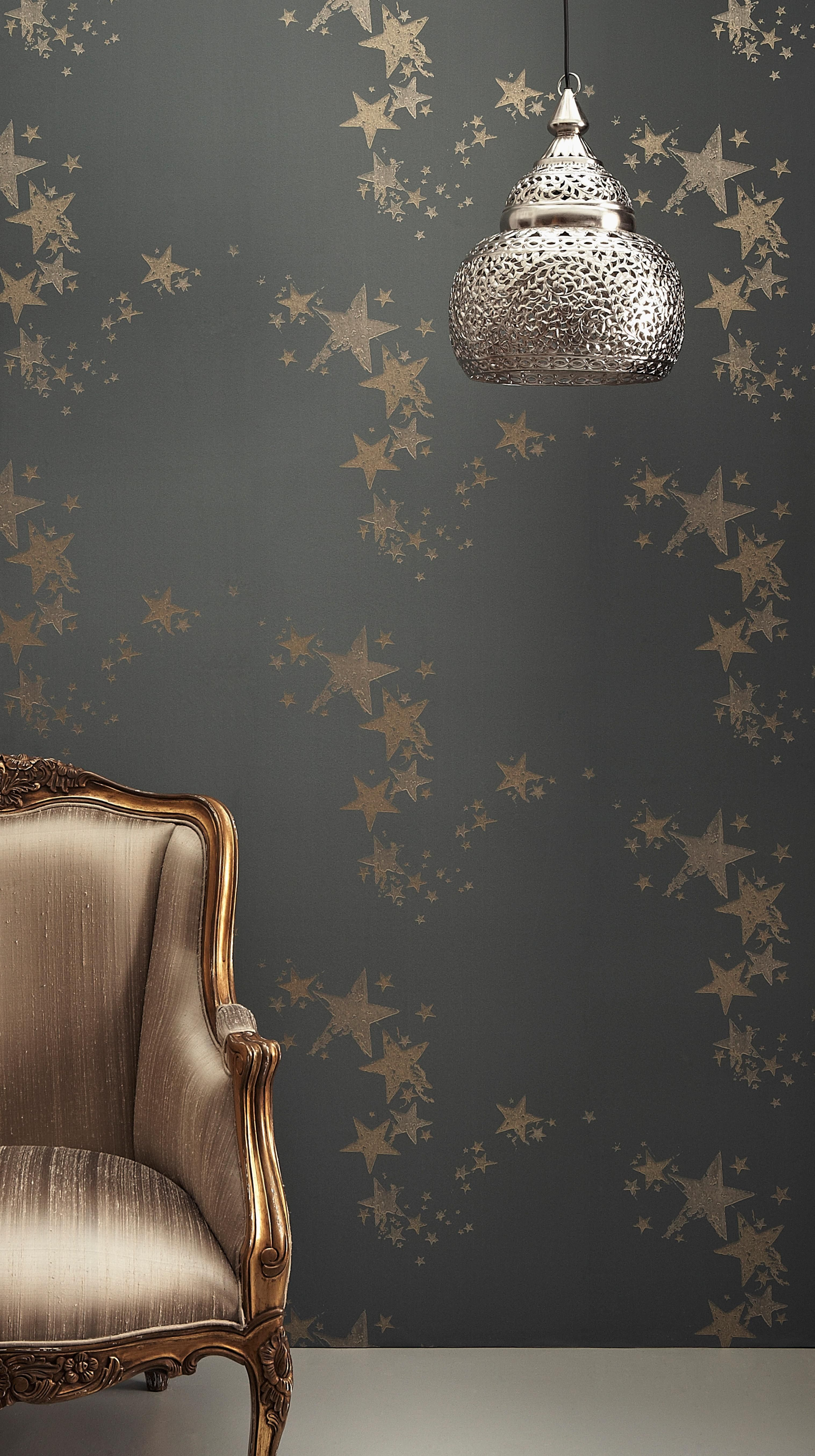 all Star Contemporary, Traditional Wallpaper In Gunmetal
