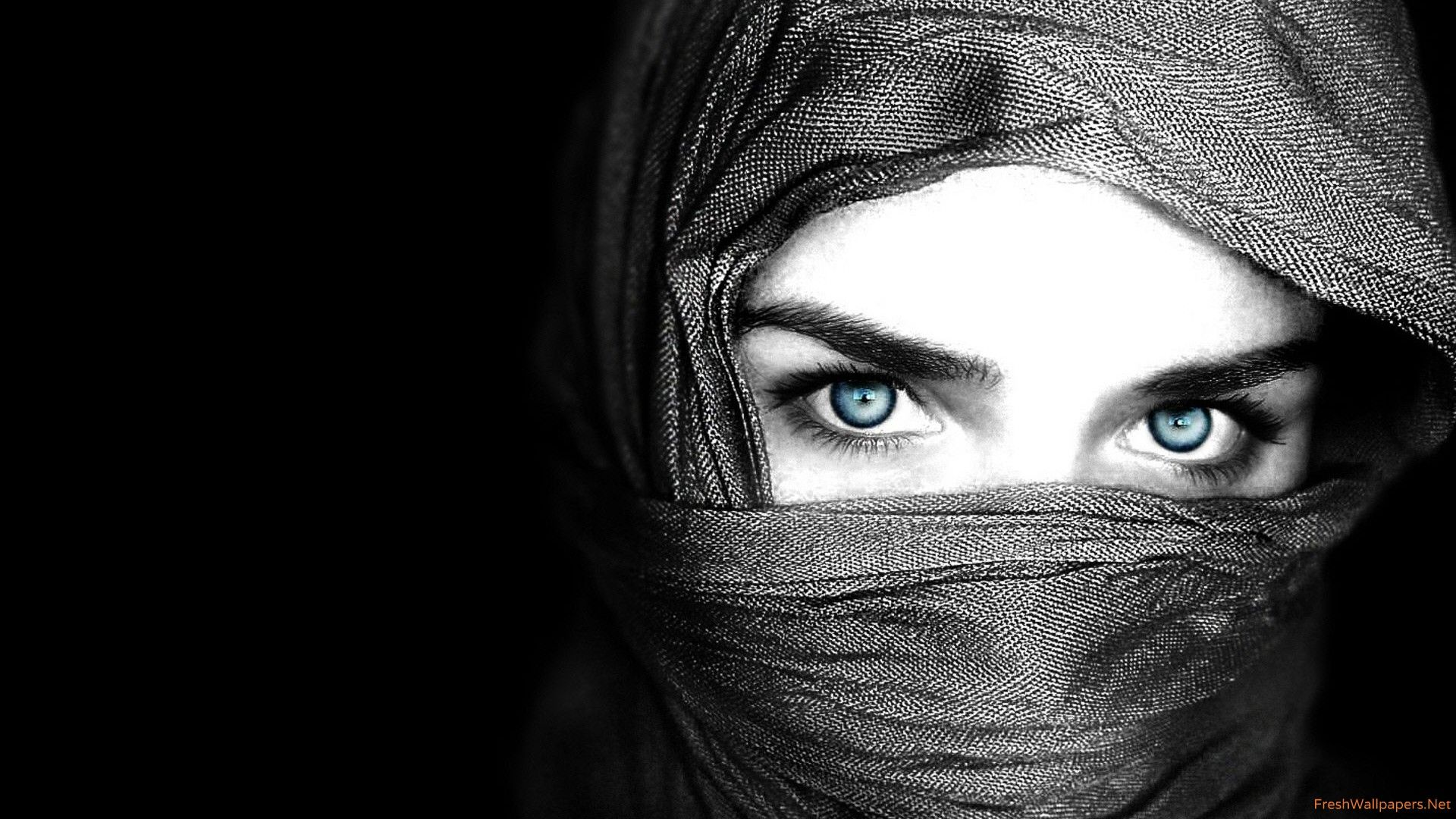 Image for Arab Women Blue Eyes Covered Face Widescreen Hd