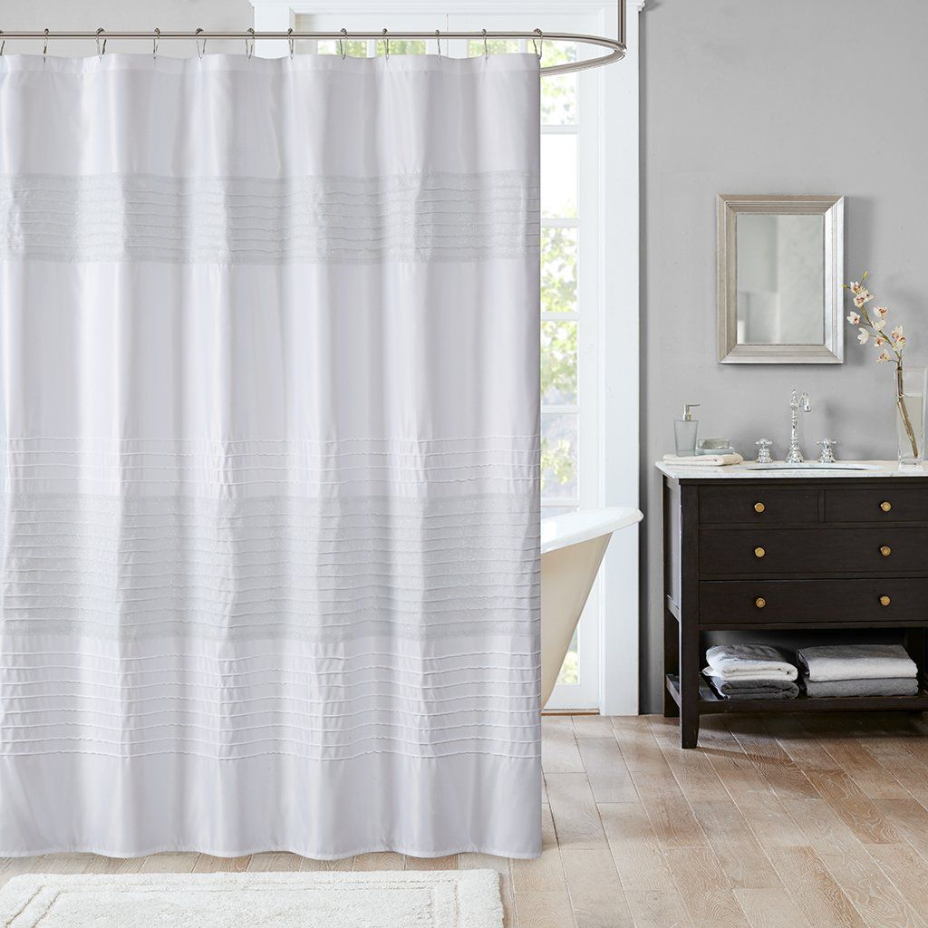 Teen girl bedrooms amherst metallic pieced shower curtain white