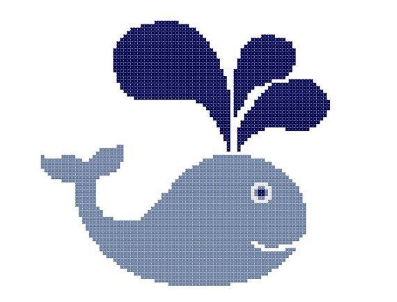 Baby Cross Stitch Pattern PDF Whale Instant by CrossStitchDiva