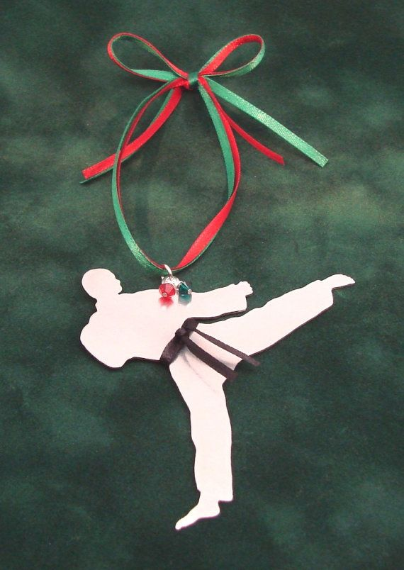 Karate Tae Kwon Do Metal Christmas Tree Ornament by RoxysCreations - Karate Tae Kwon Do Metal Christmas Tree Ornament By RoxysCreations