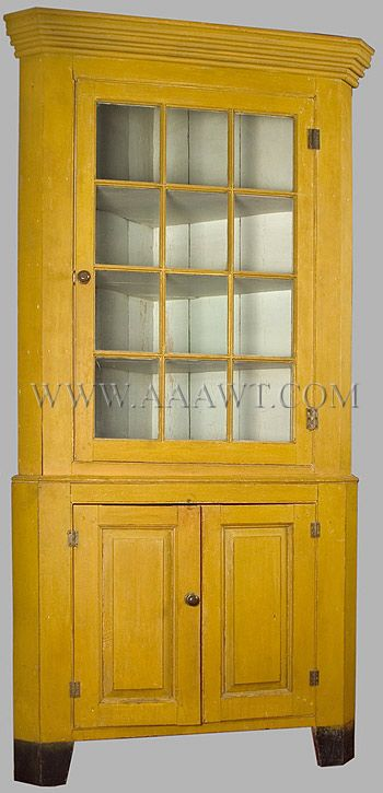 A Circa 1810 1825 New England Corner Cupboard In Original Yellow Paint 7 5 Feet Tall Facing Is About 36 Inches Wide 41 With Shallow Turkey
