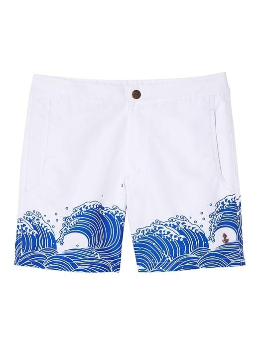 d86c09bd8274f Banana Republic Mens Retromarine |; Odaiba Japanese Waves Printed Swim  Short White