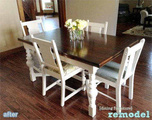 coconut dining table makeover after Refinishing Pinterest