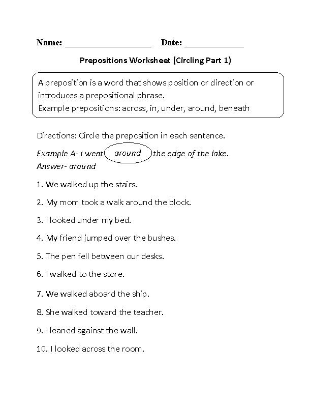 preposition worksheets | Prepositional Phrase Worksheet - Download ...