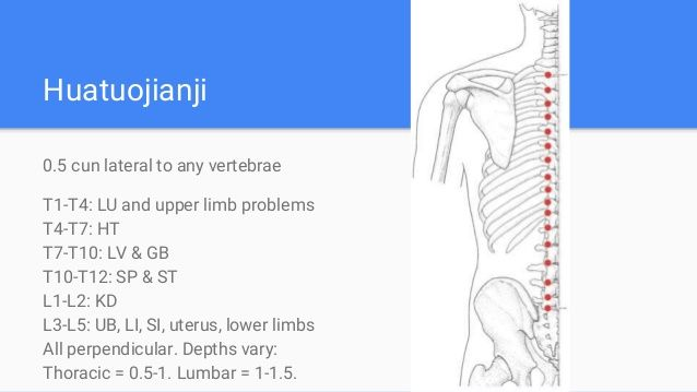 Huatuojianji 0.5 cun lateral to any vertebrae T1-T4: LU and upper limb problems T4-T7: HT T7-T10: LV & GB T10-T12: SP & ST...