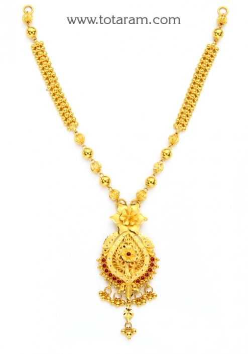 22K Gold Necklace for Women with Beads Totaram Jewelers Buy Indian