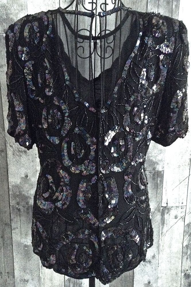 Vintage Laurence Kazar Sequin Beaded Top Blouse 100% Silk Black Fully Lined XL…