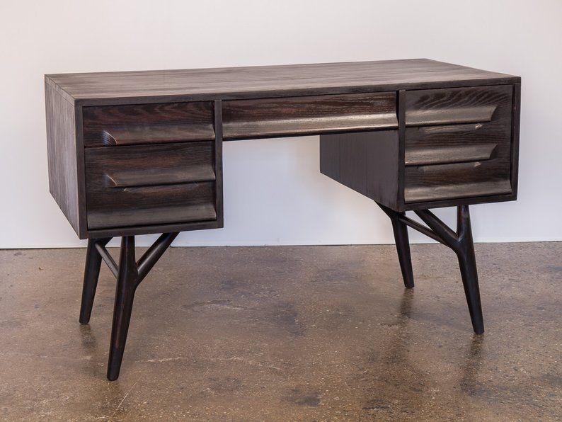 1950s Ebonized Black Oak Five Drawer Desk For Vanleigh Oak Desk