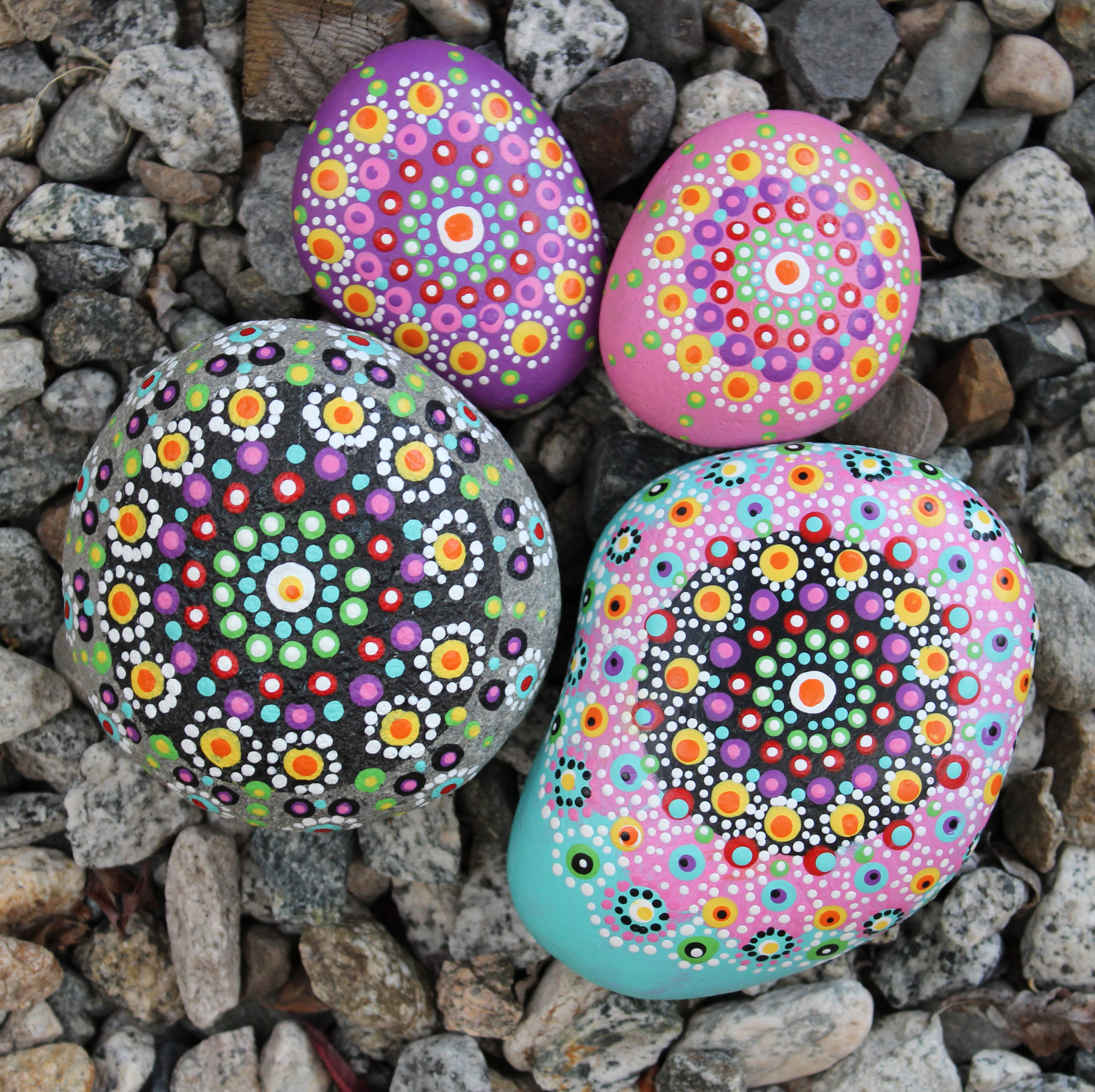 Create This Project With Americana Multi Surface Acrylics Paint Pretty Patterns On Your Rock Painting Flowers Rock Painting Ideas Easy Mandala Painted Rocks