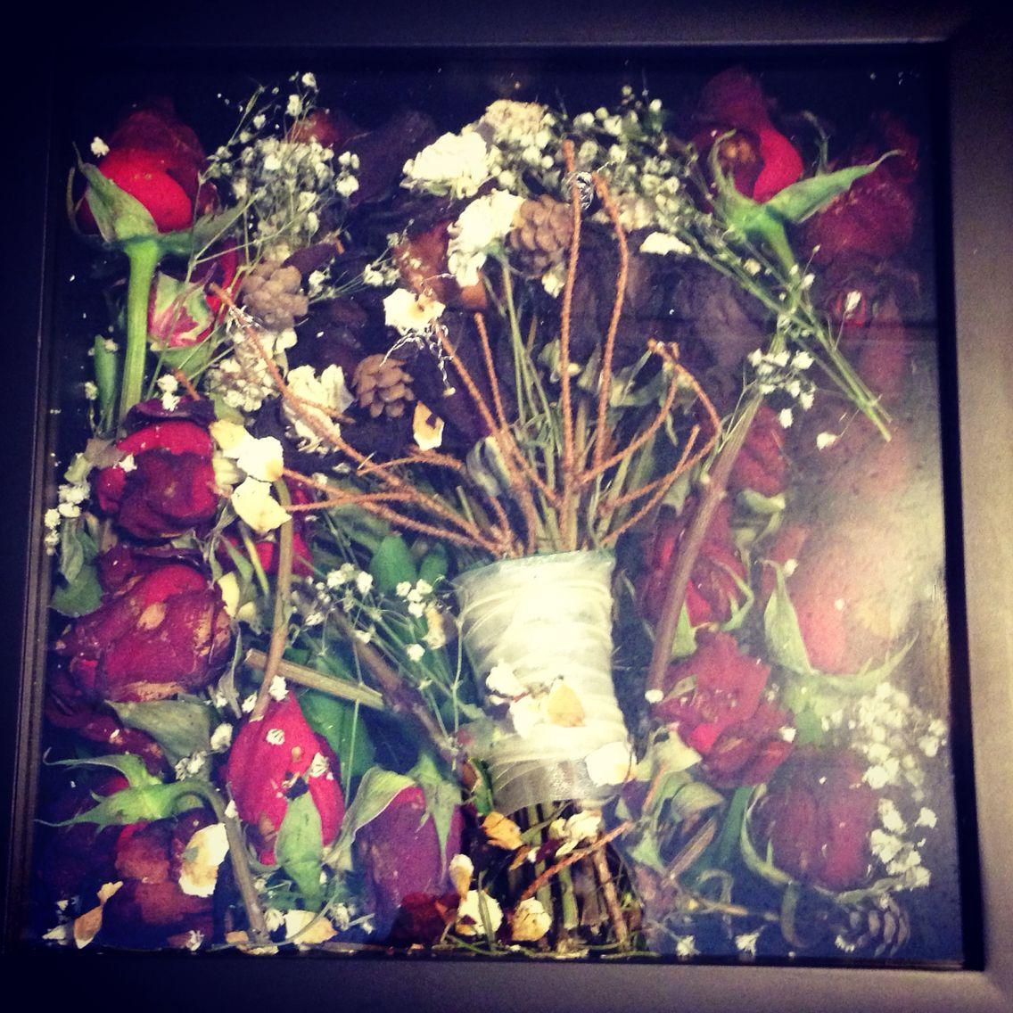 Dried wedding bouquet in a shadow box | Wedding | Dried ...