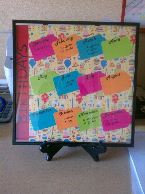 Birthday Calendar For Office