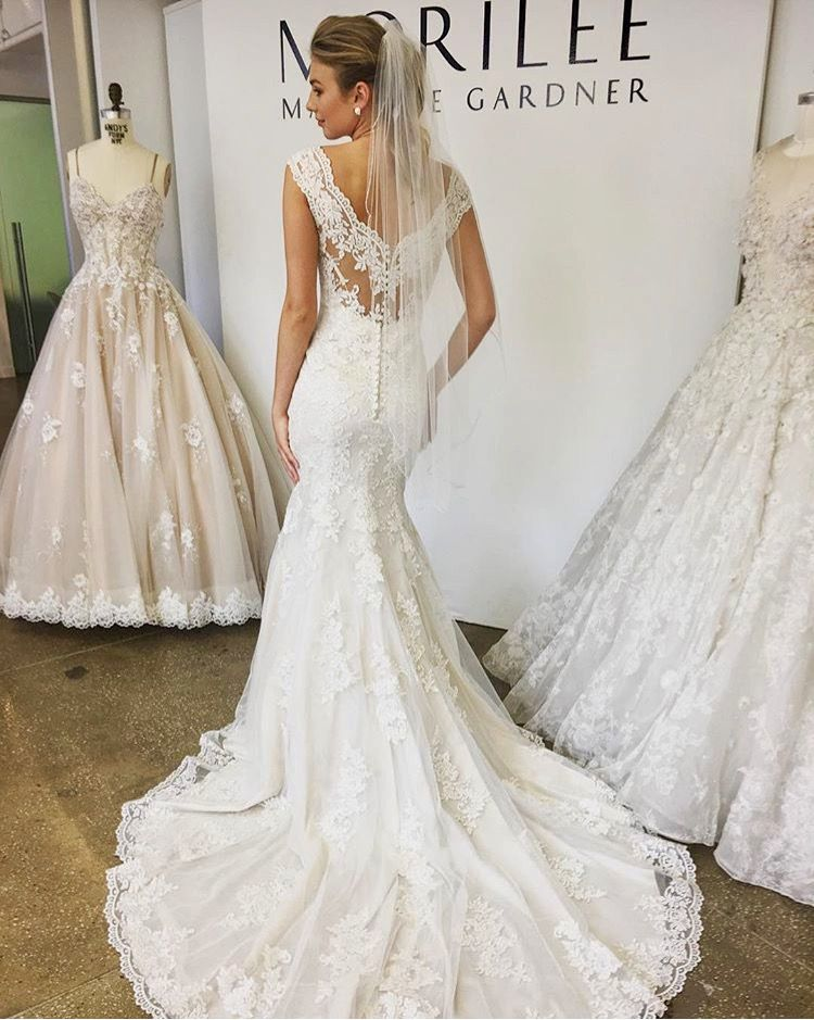 Lace fitted mermaid fishtail wedding dress with low lace back detail ...