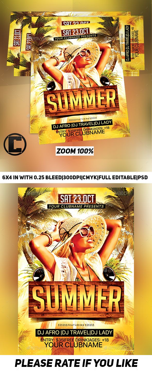 Summer  Flyer Template Psd X Size Print Bleeds Cmyk Print Ready