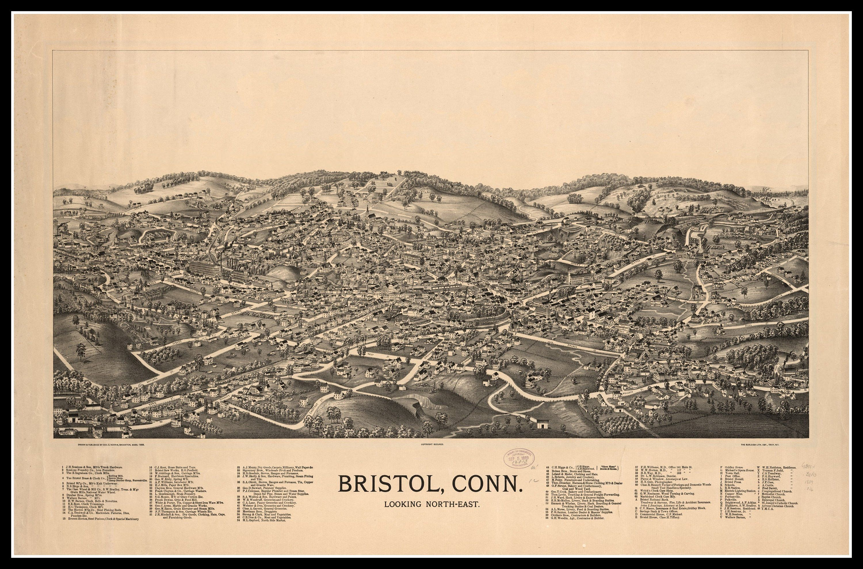 Panoramic map, Bristol CT, vintage map, vintage map art, vintage map ...