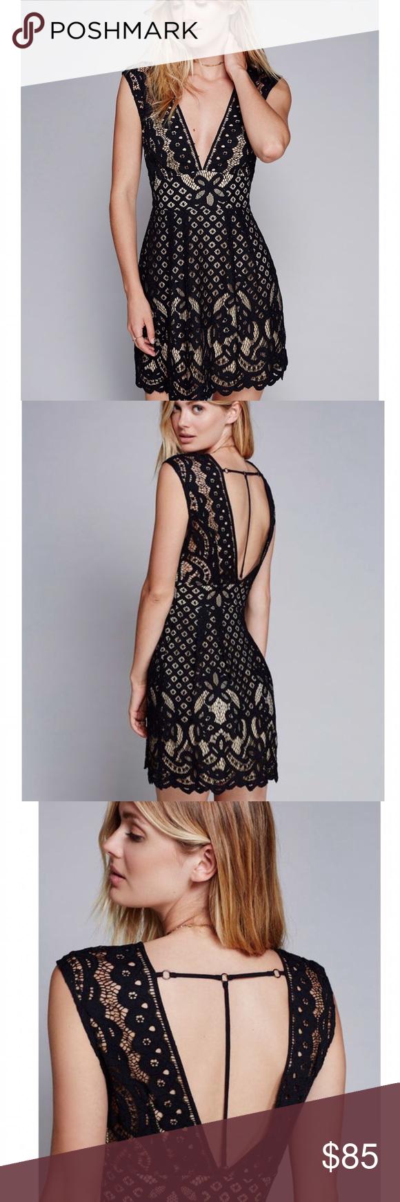 20c50df9e9ef Free People Black Lace Mini Dress Free People s One Million Lovers Mini  Dress. Black lace overlay