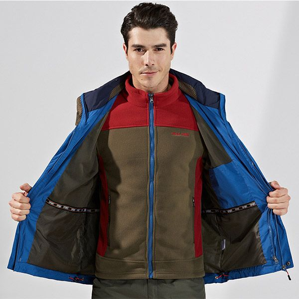 Winter Outdoor Windbreaker Fleece Liner Jacket Mens Warm Ski Sportswear Removable Two-Piece